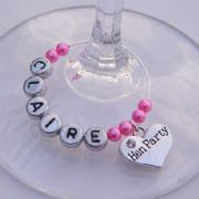 Hen Party Personalised Wine Glass Charm Favours